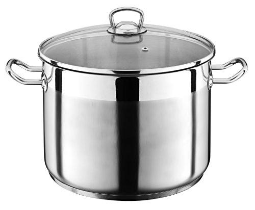20 Liter Kochtopf mit Glasdeckel Suppentopf Topf Eintopf Universaltopf Silber INDUKTION (20 Liter) von Liivo
