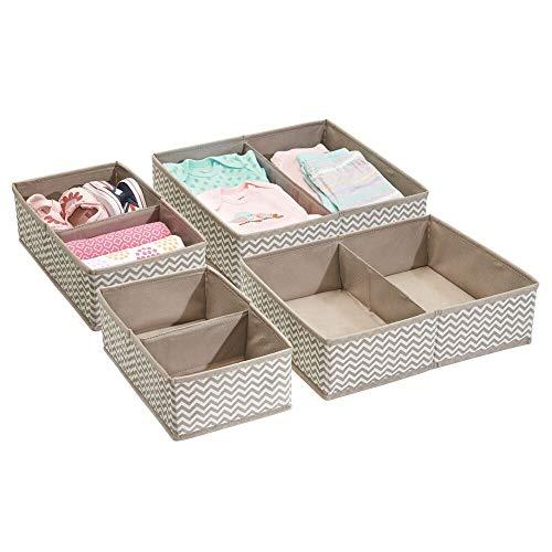 mDesign Baby Organizer im 4er-Pack - tolles Set mit zahlreichen Fächern für Windeln, Feuchttücher etc. - ideale Aufbewahrungsbox zur Spielzeug Aufbewahrung - Taupe/Natur