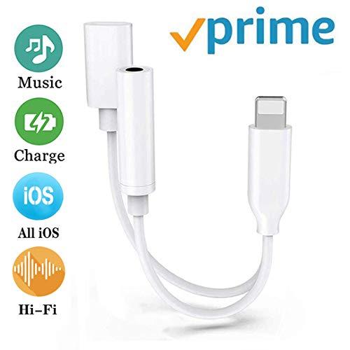 Kopfhörer Adapter für iPhone Aux Adapter 3,5mm Klinke Dongle Splitter Audio und Lade Adapter für iPhone 8/8 Plus/7/7Plus/X/XS/XR zubehör Kabel zum Aux-Audio-Anschluss Unterstützung iOS12 oder höher