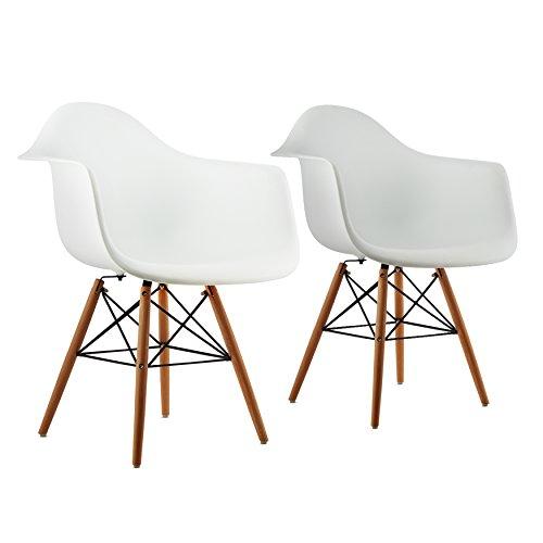 oneConcept Bellagio Schalenstuhl Designstuhl Retro-Stuhl 2er-Set 70er Jahre Retro Look breite Sitzfläche hochwertige Hartplastik-Schale Birkenholz-Beine zeitlos komfortabel weiß