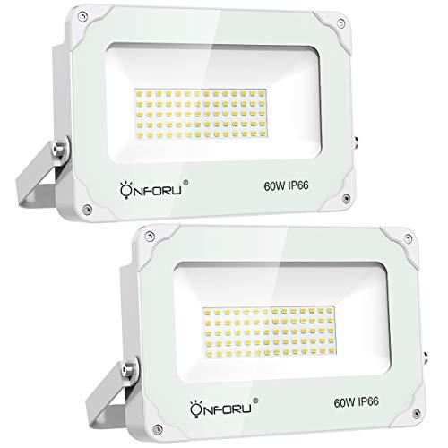 Onforu 2er Pack 60W LED Strahler 6000LM | Superhell LED Außenstrahler Fluter Flutlicht 5000K Tageslichtweiß | IP66 Wasserfest | Ideale Außenbeleuchtung für Garten, Garage, Sportplatz, Hotel ect.