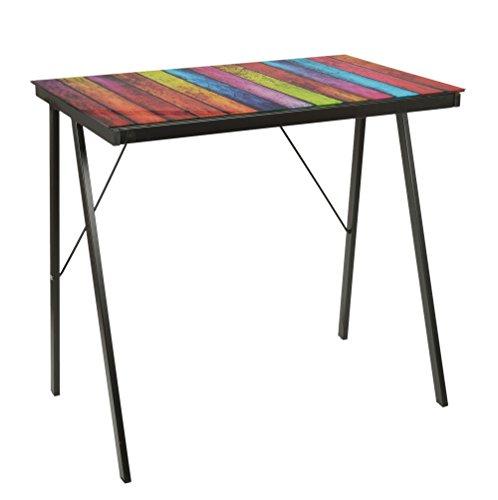ts-ideen Schreibtisch Bürotisch Glastisch Computertisch mit Stripes Design Schwarz mit 6 mm Glasplatte
