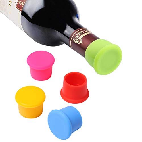 Vicloon Packung mit 5 Silikon Kronkorken, Weinflasche Caps/Bier Sealer Abdeckung, verschiedene Farben Reusable