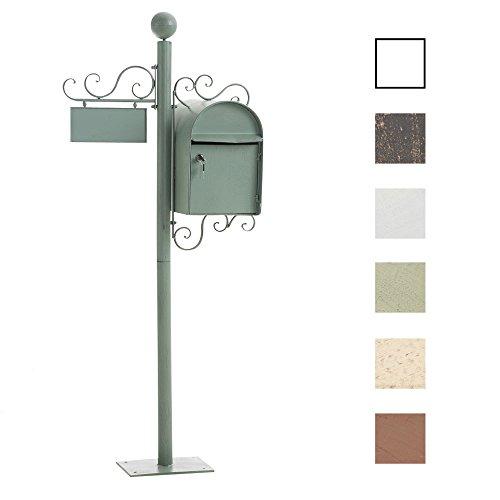 CLP Stand-Briefkasten Charlize I Antiker freistehender Briefkasten mit Namensschild I Briefkasten aus Eisen I in Verschiedenen Farben erhältlich Antik Grün