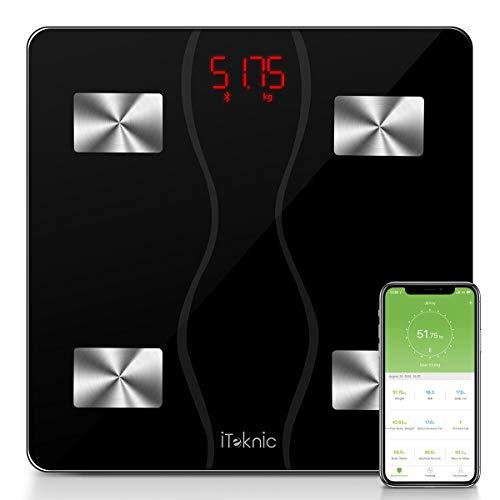 Körperfettwaage Digitale Körperanalysewaage, iTeknic Personenwaage Körperwaage Bluetooth mit APP BMI-Rechner, Fitness-Monitor aus Gehärtetes Glas, bis 180kg Großem Display 11 Werten der Körperzusammensetzung