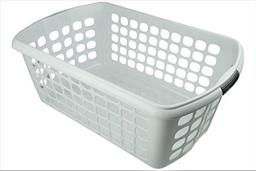 HRB Wäschekorb 54 x 35 x 23 cm, 44L Wäschewanne Wäsche Box (Weiß)