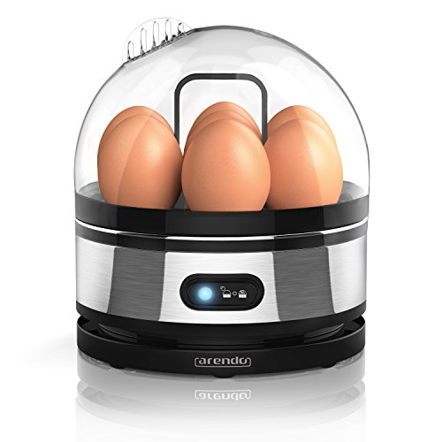 Arendo - Edelstahl Eierkocher mit Warmhaltefunktion | Kipp-Funktionsschalter mit Indikationsleuchte | einstellbarer Härtegrad | Abschrecken von 1-7 Eiern | rostfreier, gebürsteter Edelstahl