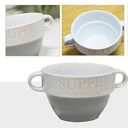 DRULINE 8 Stück Suppentasse aus Keramik mit Schriftzug Suppe des Tages Ø 13 cm Grau