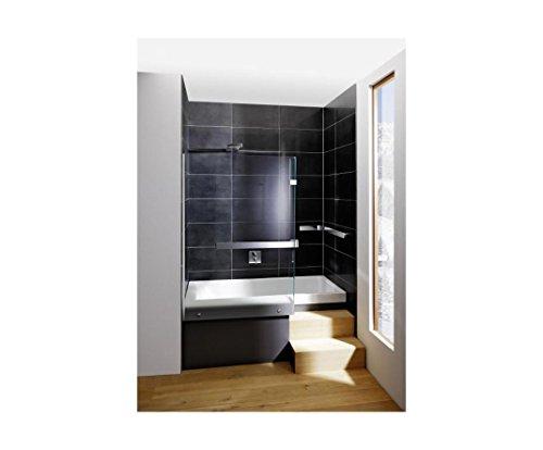 Repabad Stairway Dusch Badewanne 170 Nische mit Glaswand Wannenträger Kombiwanne mit Rotaplex Trio mit Wassereinlauf rechts ohne RepaGrip ohne Stufe ohne Wandgriff