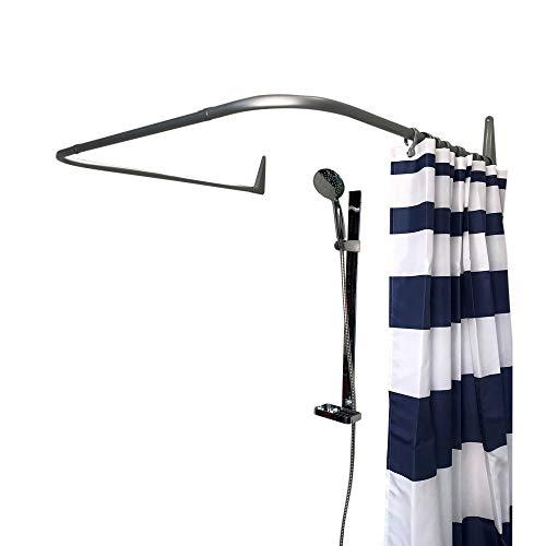 Erica Duschvorhangstange 85x95x85 cm Silber matt Wandmontage ohne Deckenbefestigung - PVC Beschichtung matt - 100% rostfrei