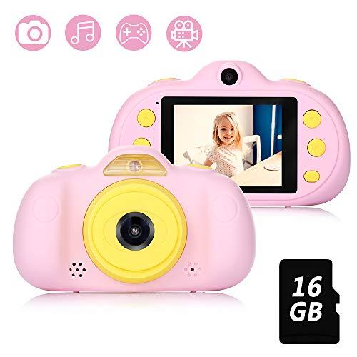 Fede Kinderkamera mit kostenloser 16GB TF-Karte,wiederaufladbare Selfie Kamera für Kinder, Kinder Digital-Camcorder mit 2,4 Zoll Bildschirm,HD 8MP/1080P Doppellinse, stoßfeste Kamera mit Silikonhülle
