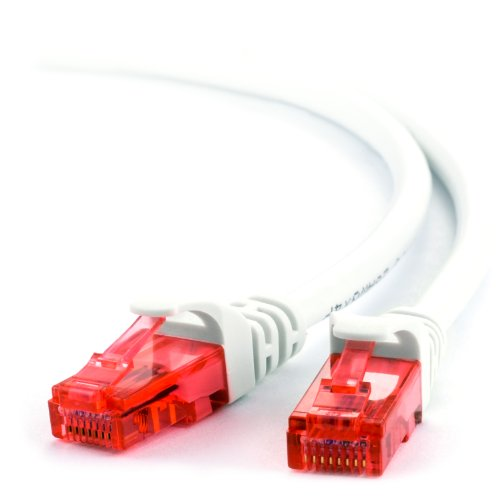 5m - CAT.6 Ethernet Gigabit Lan Netzwerkkabel (RJ45) | 10/100/1000Mbit/s | Patchkabel | UTP | kompatibel zu CAT.5 / CAT.5e / CAT.7 | Switch/Router/Modem/Patchpannel/Access Point/Patchfelder | weiß