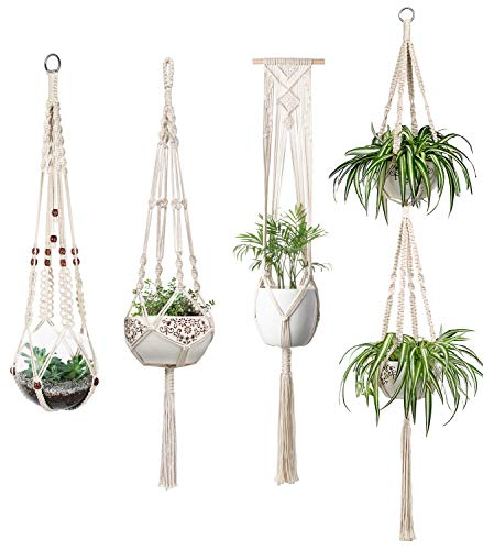 Mkouo Blumenampel Makramee Pflanzenhalter Set of 4 Indoor Wandbehang Pflanzer Korb Blumentopf Halter Boho Home Decor Geschenkbox