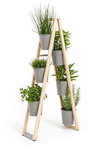 Pflanzleiter, Blumenregal, Blumenleiter, Kräutertöpfe 2 in 1, kann frei Stehen oder hochgestellt an Einer Wand lehnen (Steingrau)