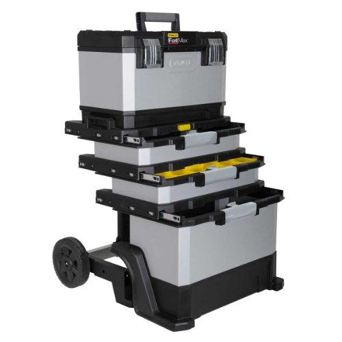 Stanley FatMax Rollende Werkstatt aus Metall-Kunststoff 1-95-622 / Werkzeugwagen leer / Vielseitige Werkzeugbox für Kleinteile und große Werkzeuge