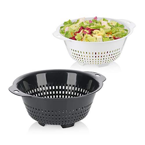 MamboCat 2tlg.-Set Salat-Seiher Hajo I Küchensiebe 1x weiß + 1x grau I Ø 27 cm I Küchenzubehör I Abtropfen von Obst, Gemüse und Salat I Spaghetti-Siebe