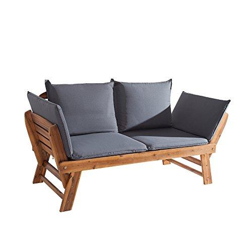 Massive Sitzbank MODULAR Akazie geölt Gartenbank mit Kissen in grau und Polsterung klappbar Bank Garten Terrasse Balkon Gartenliege