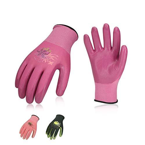 Vgo 3 Paare Nitrilbeschichtungshandschuhe, Garten- und Arbeitbeitshandschuhe, Weiblich (8/M, Violett & Hellgrün & Rosa, NT2110)