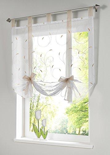 Souarts Beige Blumen Transparent Gardine Vorhang Raffgardinen Raffrollo Schlaufenschal Deko für Wohnzimmer Schlafzimmer Studierzimmer 80x140cm