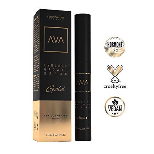 AVA Gold - Eyelash Growth Serum - Wimpernserum & Augenbrauenserum - Hormonfrei - 3ml - Made in Germany