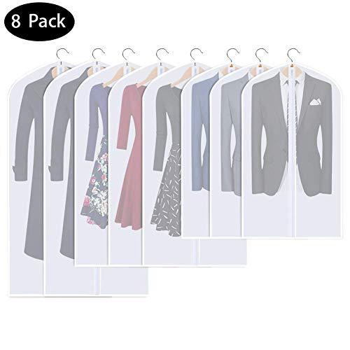 8pcs Kleidersack,DIAOCARE Transparent Kleidersäcke mit reißverschluss Atmungsaktivem-Staubdicht Schutz kleiderhülle kleid kleidersäcke für Anzüge Kleider Mäntel Sakkos Hemden(60*100cm+60*120+60*140cm)