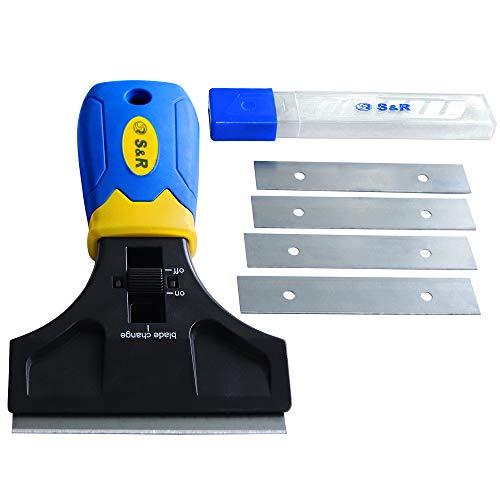 S&R Schaber 147 mm mit 5 Klingen SK5 | Kleberentferner Vignetteschaber | Glasschaber Kochfeldschaber Ceranfeldschaber | Kratzer Farbenentferner