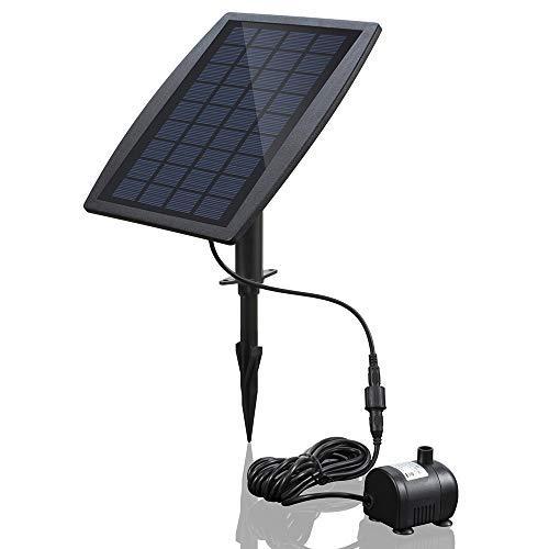 Decdeal Bürstenlose Solar Teichpumpe Solar-Brunnen Wasserpumpe mit Solarpanel 9V 2.5W