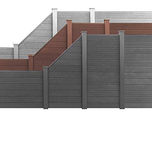 HORI WPC Garten Zaun I Lamellenzaun, Sichtschutz Komplettset I Braun I Höhe 180 cm I 1x Schräg und 1x Pfosten klein
