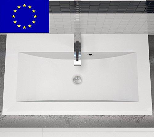 Einbau-Waschbecken 80x45x15cm eckig | 80cm Einbau-Waschtisch zum einlassen in eine Platte | Material: hochwertiges Mineralguss | Qualität MADE IN EU