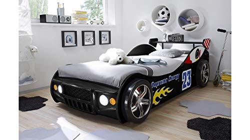 Möbel Akut Autobett Energy MDF Kinderbett Jugendbett Bett schwarz lackiert mit LED