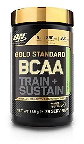Optimum Nutrition Gold Standard BCAA- Verzweigtkettige Aminosäuren (mit Vitamin C, Wellmune, Rhodiola rosea und Elektrolyten, BCAA Pulver von ON) Apple und Pear, 28 Portionen, 266g