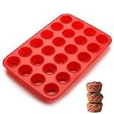 SveBake Mini Muffinform - Silikon Muffinblech Backformen für 24 Muffins mit Antihaftbeschichtung, Muffins, Cupcakes, Brownies, Kuchen, Pudding 34x23x2.5cm, Ø 4,5cm, Rot
