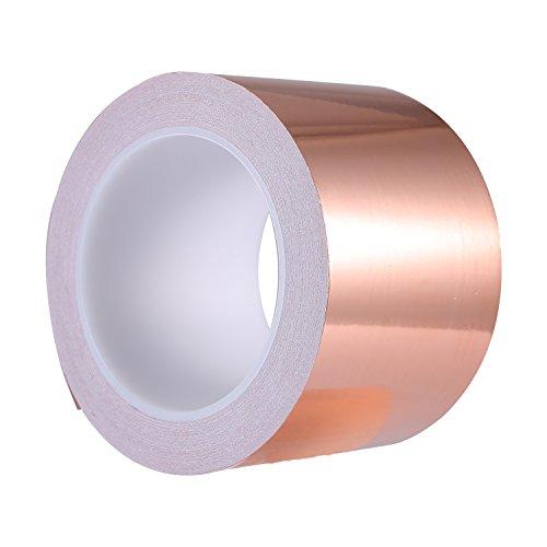 Zalava 70mm X 20M Kupferband Kupferfolienband EMI Kapton Tape Abschirmband Kupferfolie Kupferband Selbstklebend Klebeband Schneckenband Schneckenschutz (70mmX20M)