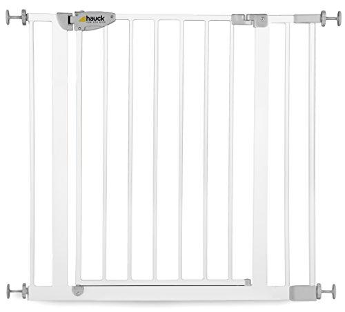 Hauck Squeeze Treppen- / Tür- schutzgitter mit 7cm Verlängerung für Kinder, für Hunde und Katzen, 75-88 cm Befestigung ohne Bohren zum Klemmen mit Tür, grau/silber