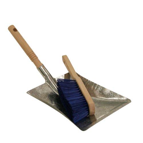 Kamino-Flam Kehrschaufel-Set mit Handfeger - Kehrblech verzinkt & feuerfest Handfeger aus Buche-Holz - Schaufel & Feger klein für Holzofen - Kehrblech mit SB-Bohrung - Schaufel-Set für Kamin