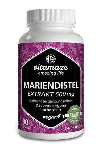 Mariendistel Kapseln hochdosiert - VEGAN 90 Kapseln für 3 Monate - 500 mg Extrakt mit 80% Silymarin Qualitätsprodukt-Made-in-Germany OHNE Magnesiumstearat, 30 Tage kostenlose Rücknahme!