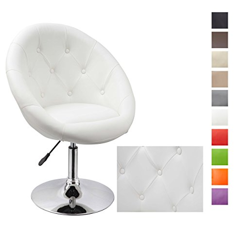 Sessel WEISS höhenverstellbar Kunstleder Clubsessel Coctailsessel Loungesessel - TYP 509A
