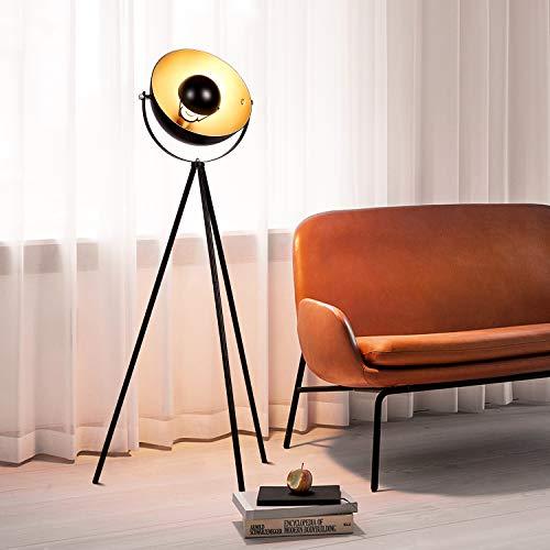 Albrillo Stehlampe - Retro Studiolampe mit E27 Fassung, Vintage Stehleuchte in Schwarz Gold, Ø 32 cm Lampenschirm und Max. 60W, 140cm Standlampe, Metall, für Wohnzimmer, Schlafzimmer