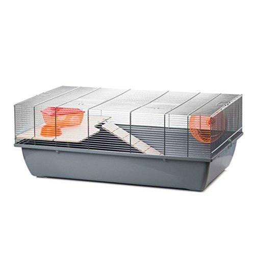 Mäusekäfig Hamsterkäfig Nagerkäfig 78x47x30cm grau mit Zubehör