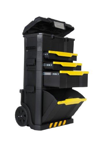 Stanley Rollende Werkstatt aus Metall-Kunststoff 1-79-206 / Werkzeugwagen leer mit 3 modularen Einheiten / Vielseitige Werkzeugbox für Kleinteile und große Werkzeuge