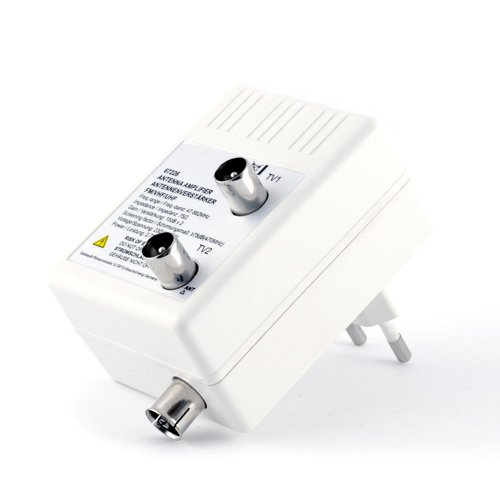 Antennen- Verstärker für DVB-T + Kabel TV + Radio / Verteilverstärker | 2 Geräte-Verstärker | optimale Signalverstärkung von 2× 15 dB | Full HD 1080p | DVB-T / DVB-T2 | DVB-C | Radio (UHF, VHF, UKW)