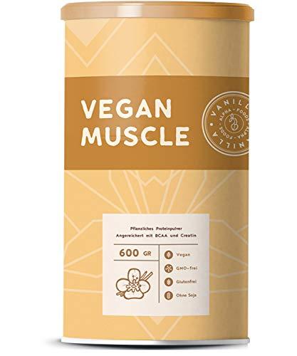Vegan Muscle | Vanille | Pflanzliches Protein aus gesprossten Samen | BCAA und Creatin | 600g Pulver