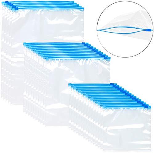 Rosenstein & Söhne Allzweckbeutel: 30 Premium Zip-Verschluss Gefrier-Beutel, 1/3/6 Liter, 68 µm (wiederverschließbare Gefrierbeutel)