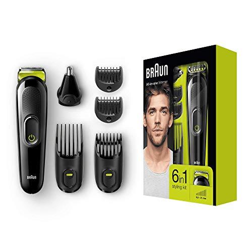 Braun 6-in-1 Multi-Grooming-Kit MGK3021, für Bart, Kopf und Körper, schwarz/grün