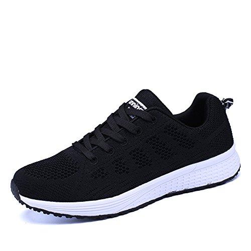 PAMRAY Damen Fitness Laufschuhe Sportschuhe Schnüren Running Sneaker Netz Gym Schuhe Schwarz Blau Grau Weiß Schwarz 39
