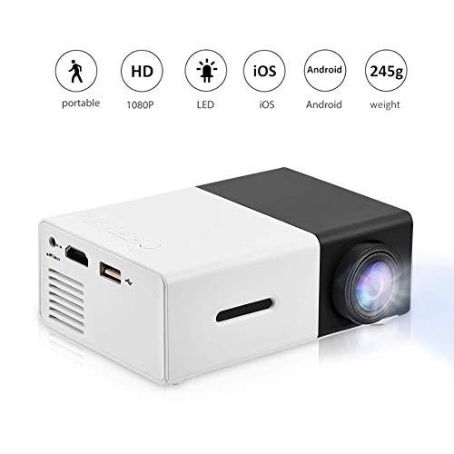 Garsent Tragbarer LED Projektor, Mini Full HD Multimedia Beamer Unterstützung AV/USB / HDMI/TF für Home Büro Theater(Weiß und Schwarz)