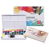 LAOYE Aquarellfarben Set 36 kräftige Wasserfarben Set - Aquarellfarbkasten inkl. 36 Wasserfarben + 12 Aquarellpapier + 2 Wassertankpinsel 2 Schwamm - Malkasten für Anfänger und Profis