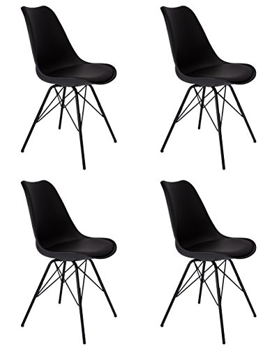 SAM 4er Set Schalenstuhl Lerche, schwarz, integriertes Kunstleder-Sitzkissen, Schwarze Metallfüße, Esszimmerstuhl im skandinavischen Stil
