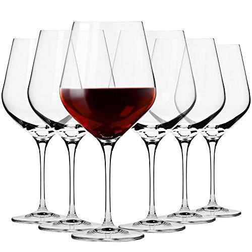 Krosno Große Burgunder Rotweingläser | Set von 6 | 860 ML | Splendour Kollektion | Perfekt für zu Hause, Restaurants und Partys | Spülmaschinenfest und Mikrowellengeeignet