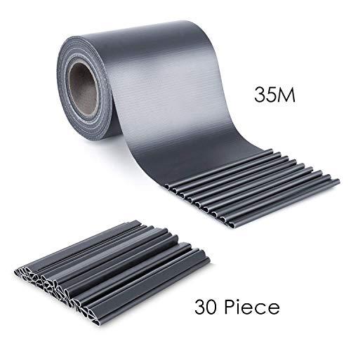 FIXKIT PVC Sichtschutzstreifen Zaunfolie 35 m x 19 cm, mit 30x Befestigungsclips,Blickdicht, Gartensichtschutz, Anthrazit, 450g/m²